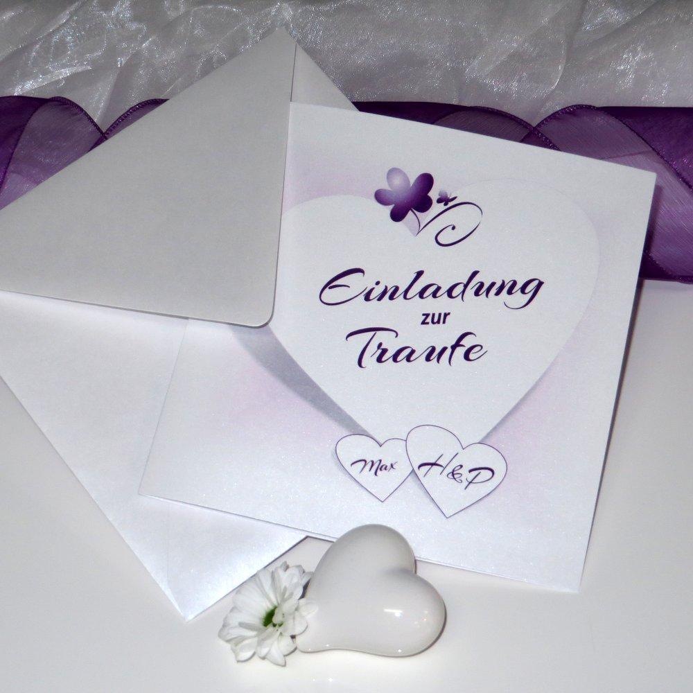 Herzkarte lila Traufe