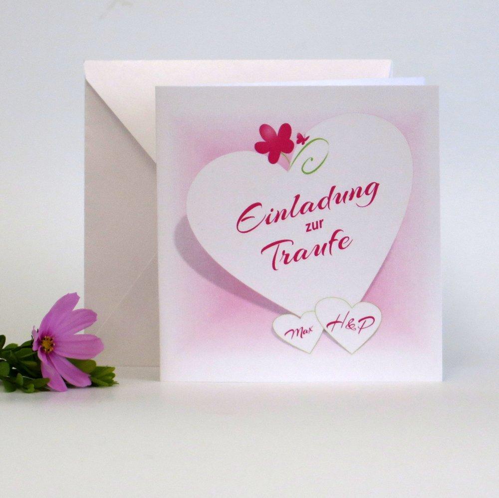 Herzkarte pink & grün Traufe