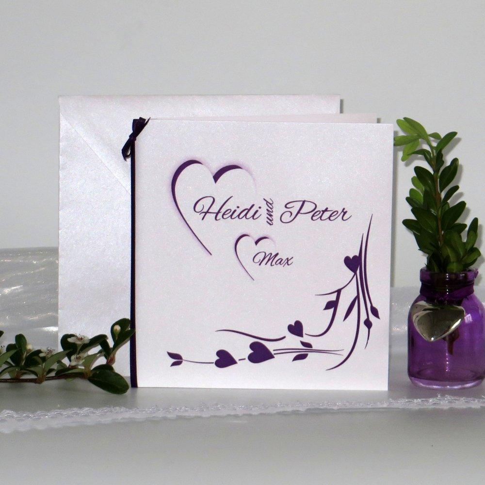 Hochzeitsherz lila - Traufe