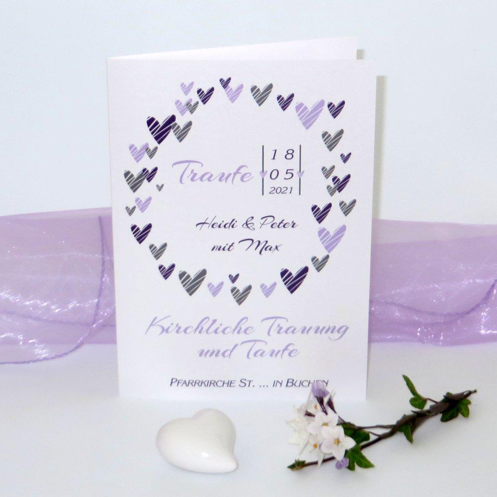 Herzring lila & flieder Traufe