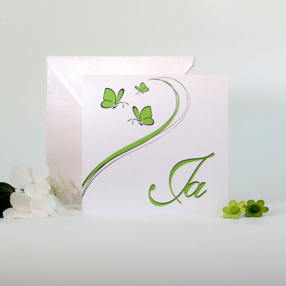 Schmetterlinge grün & weiß