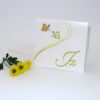 Einladungspapeterie für eine Hochzeitsfeier mit gelben Schmetterlingen.