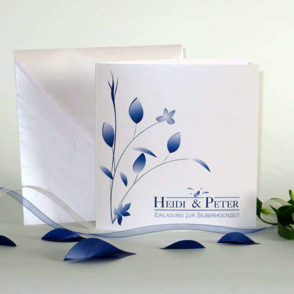 Blattwerk blau Silberhochzeit