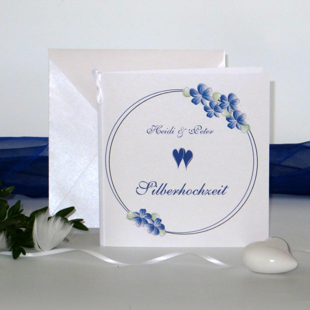 Blumenkranz blau Silberhochzeit