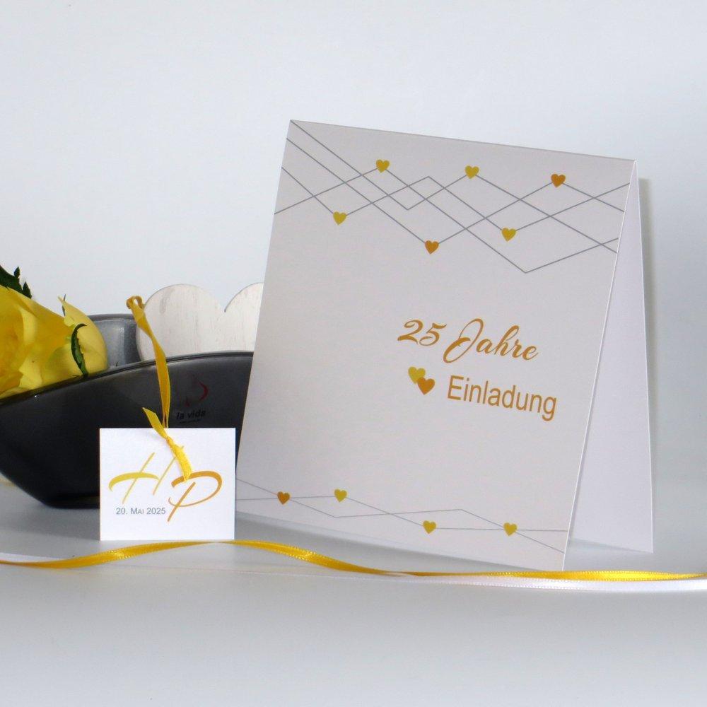 Farbherzen gelb Silberhochzeit