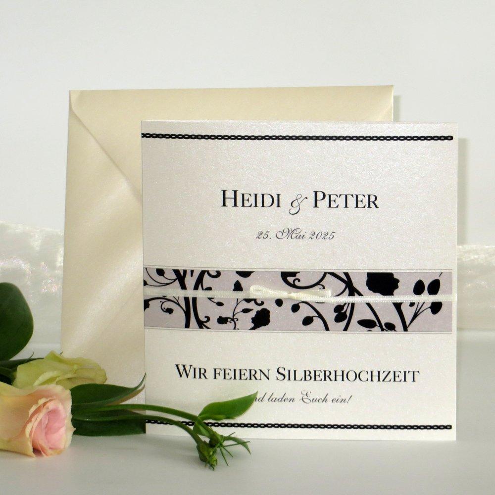 Florales Design schwarz Silberhochzeit