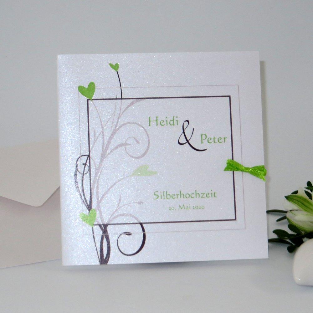 Herzzauber braun & grün Silberhochzeit