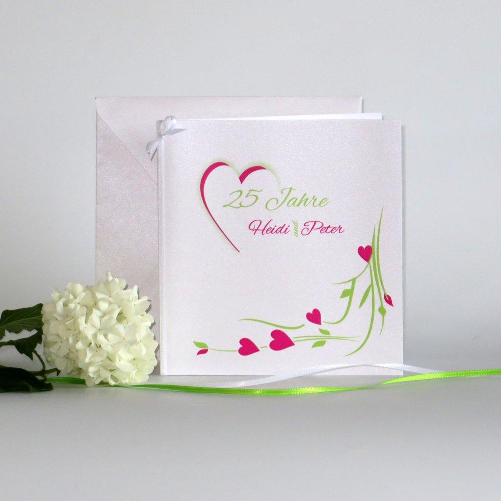 Hochzeitsherz pink und grün - Silberhochzeit