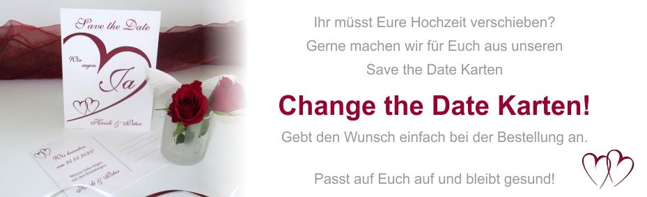 Change the Date Karten, wenn die Hochzeit verschoben werden muss.