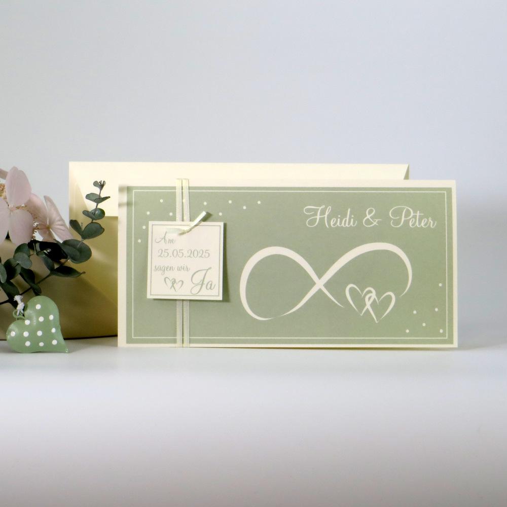 Hochzeitseinladung Unendlich in creme und grün