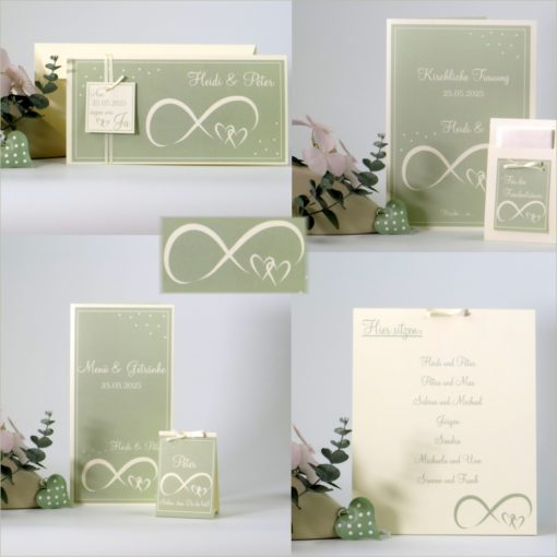 Hochzeitskartenset Unendlich in grün und creme