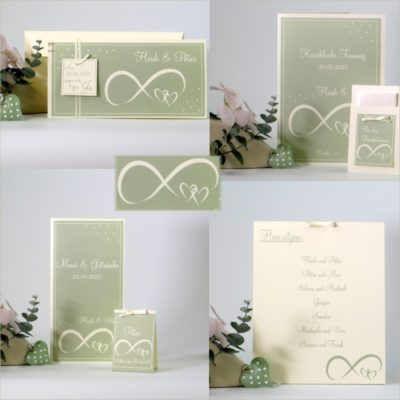 Hochzeitskarten und Deko Unendlich in grün und creme
