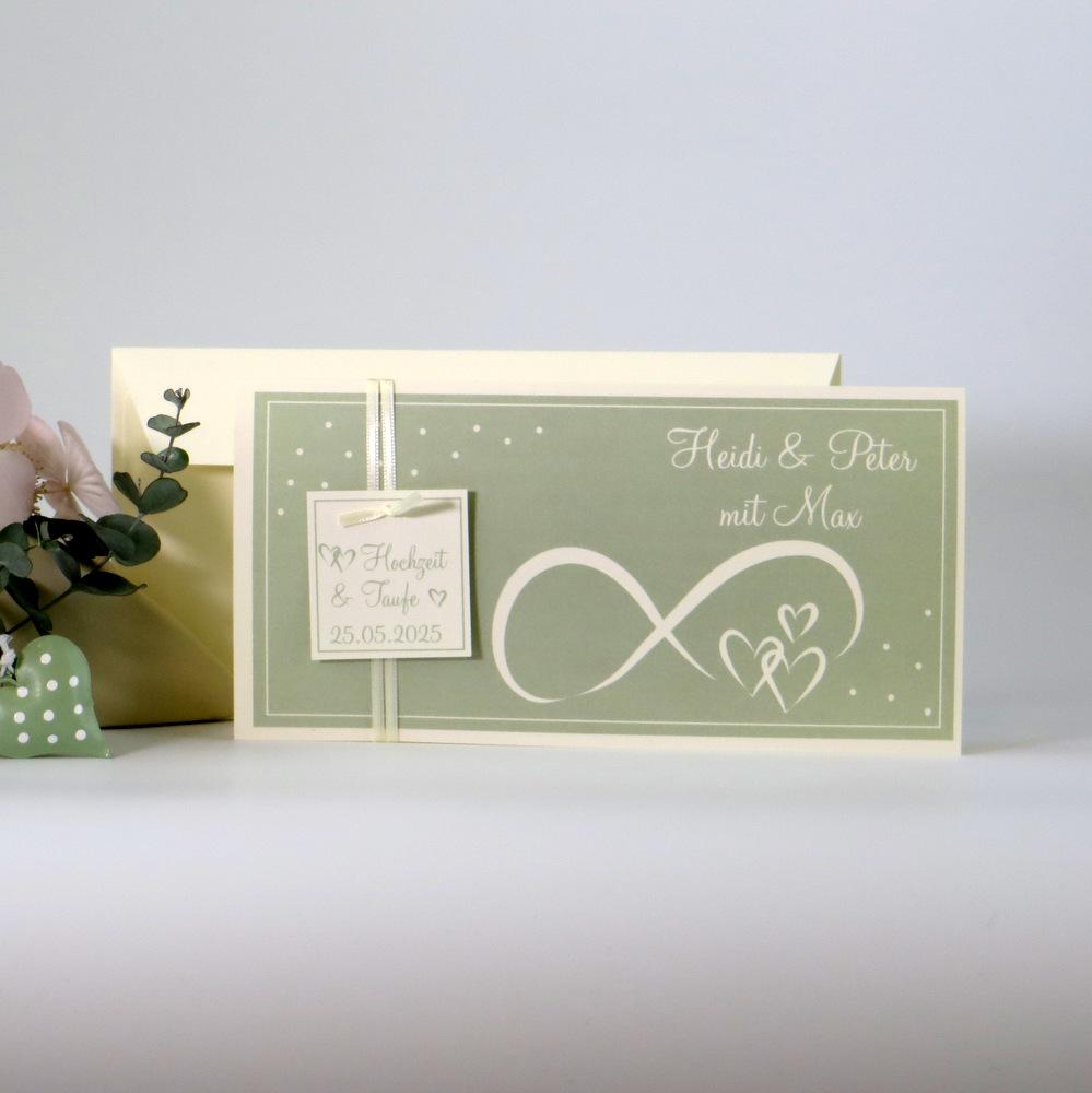 Einladung zur Hochzeit und Taufe Unendlich in grün und creme