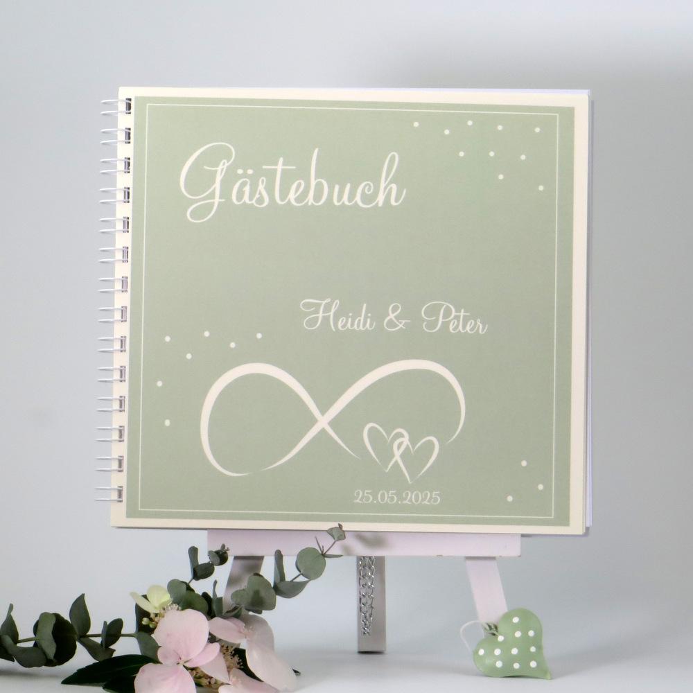 """Gästebuch """"Unendlich"""" grün & creme"""