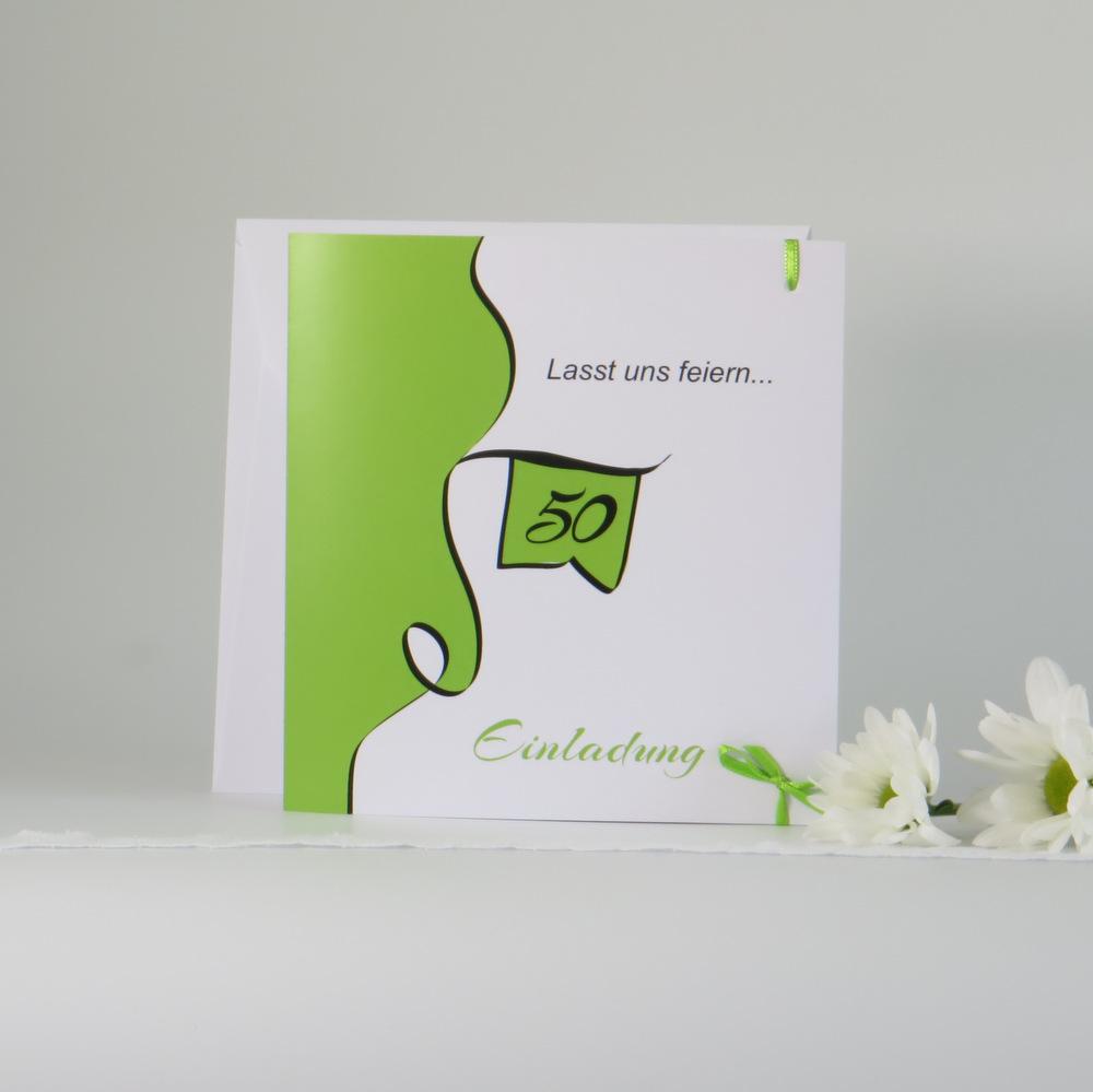 """Geburtstagseinladung """"Designline"""" in grün"""