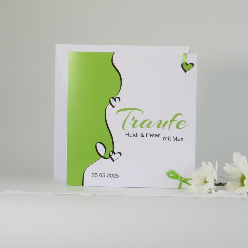 """Traufeinladung """"Designline"""" in grün"""