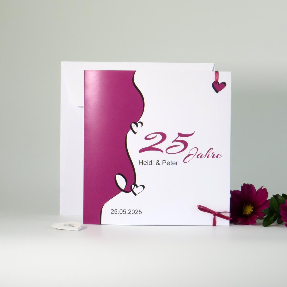 """Einladung zur Silberhochzeit """"Designline"""" in pink"""