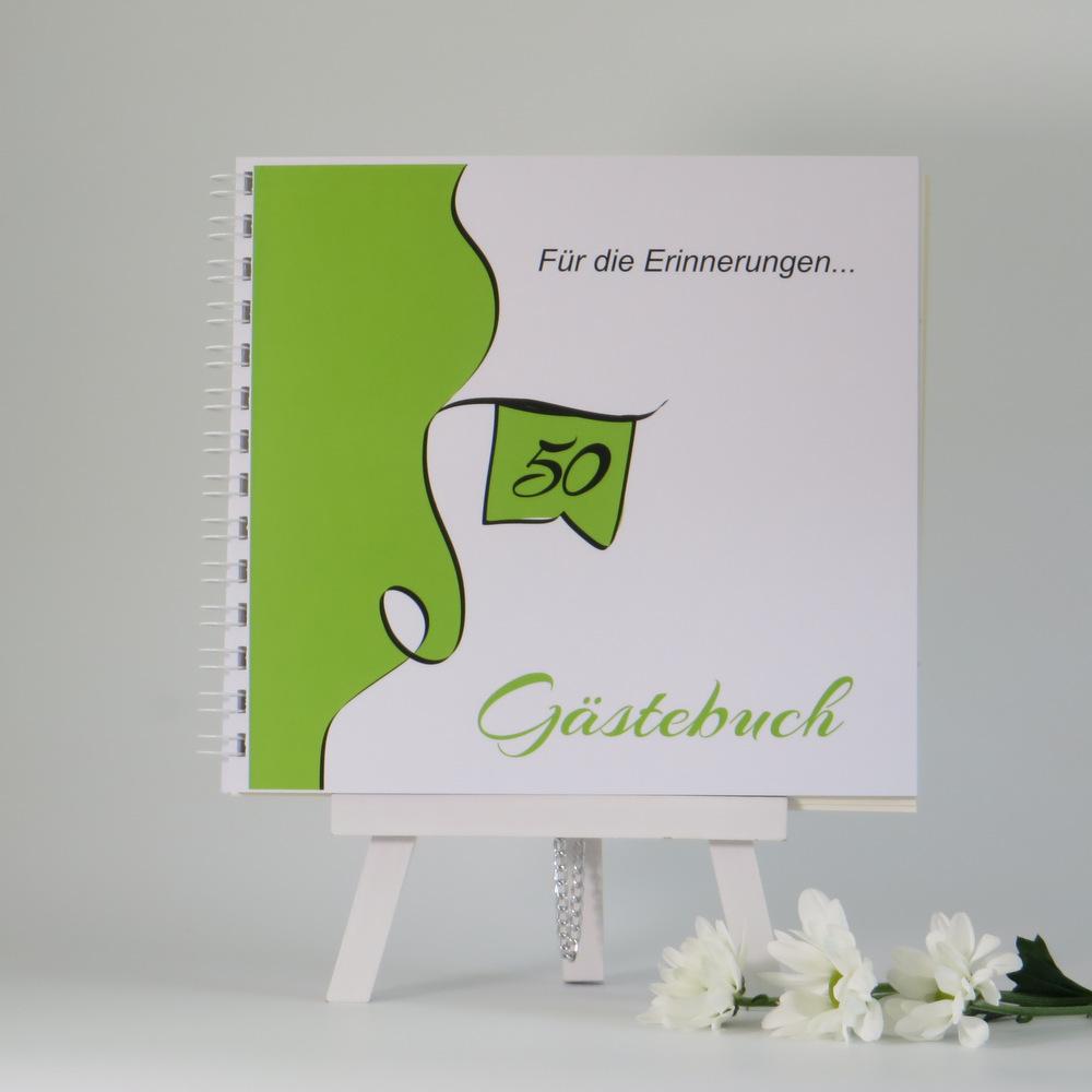 """Gästebuch für die Geburtstagsfeier """"Designline"""" in grün"""