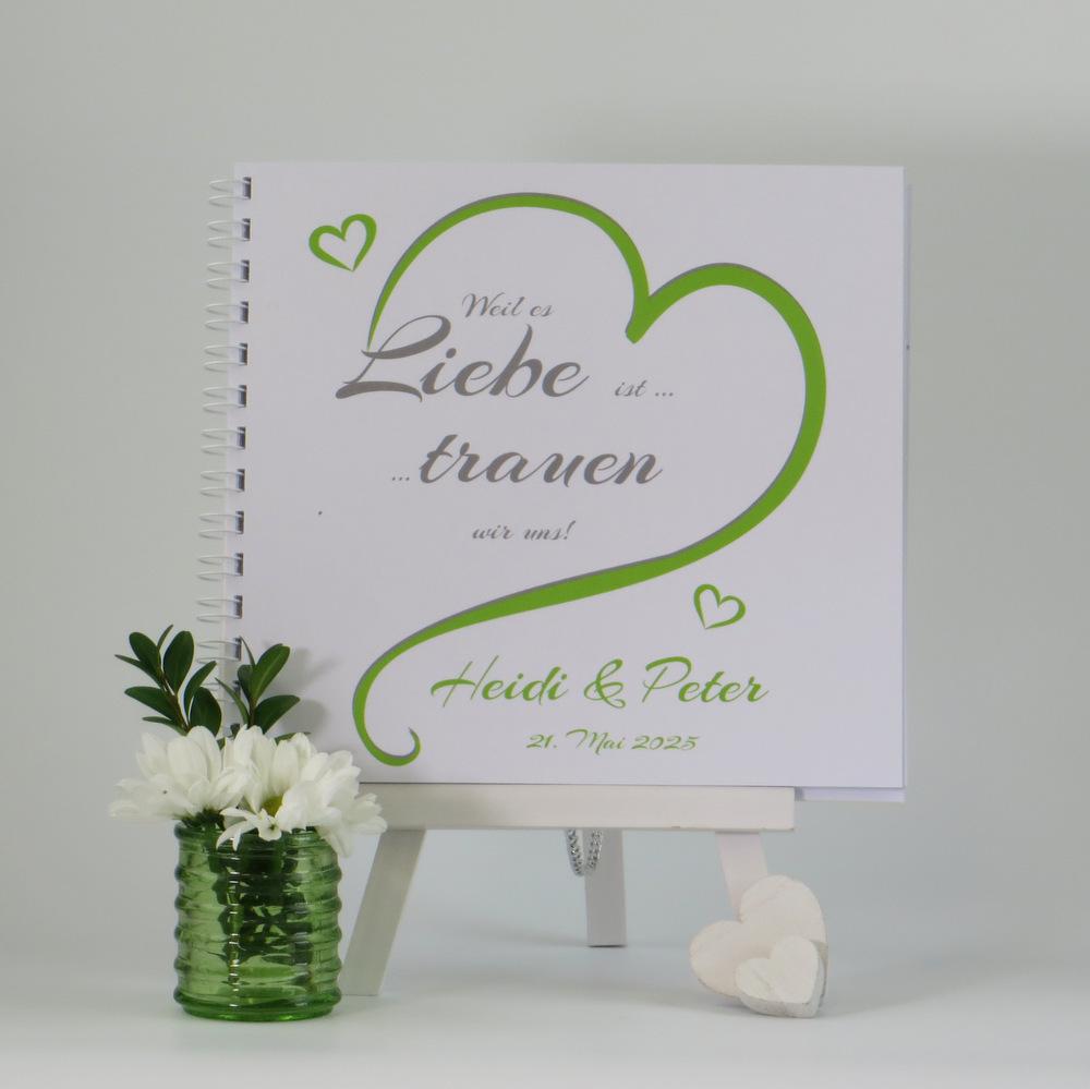 "Gästebuch ""In Love"" in grün"