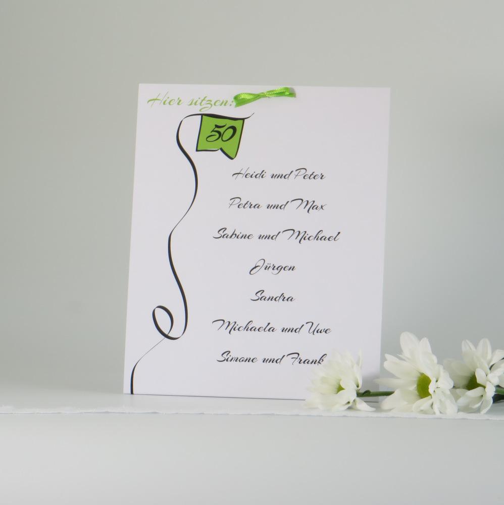 """Gruppentischkarte für die Geburtstagsfeier """"Designline"""" in grün"""