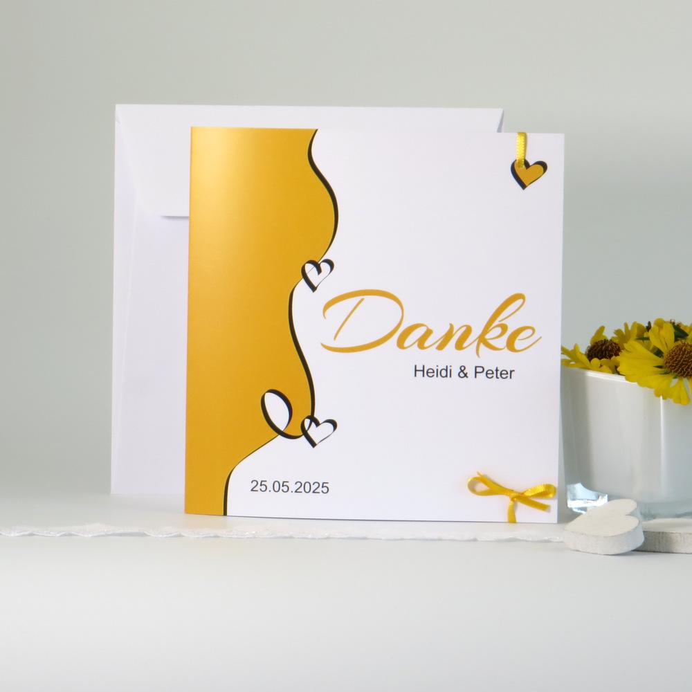 """Dankeskarte """"Designline"""" gelb"""