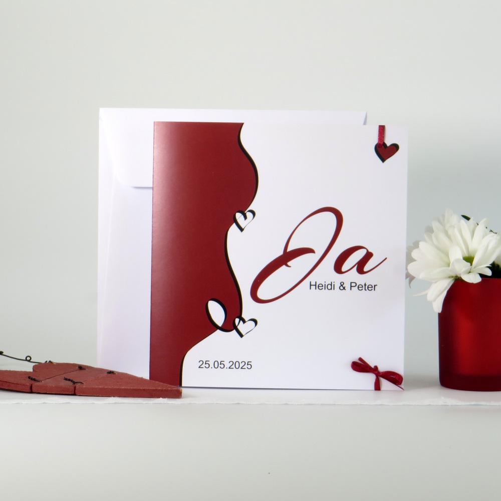 Hochzeitseinladung Designline in rot