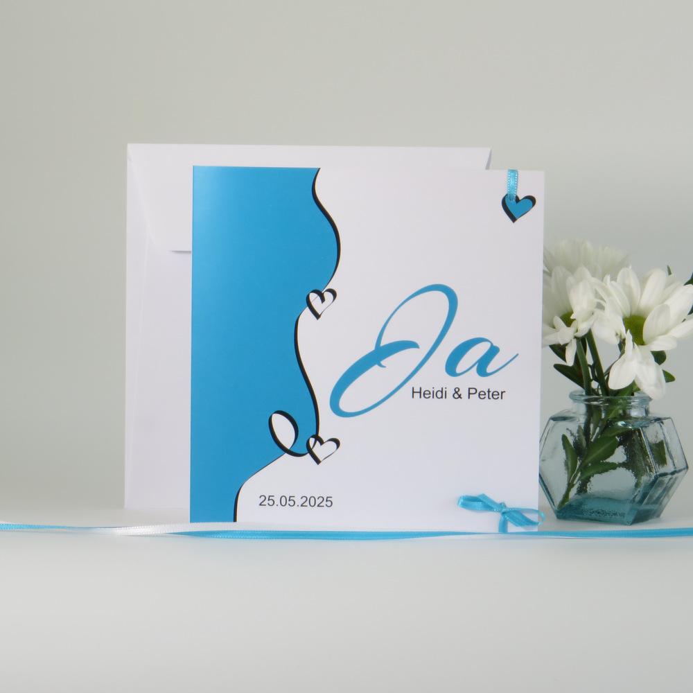 """Hochzeitseinladung """"Designline"""" in türkis"""