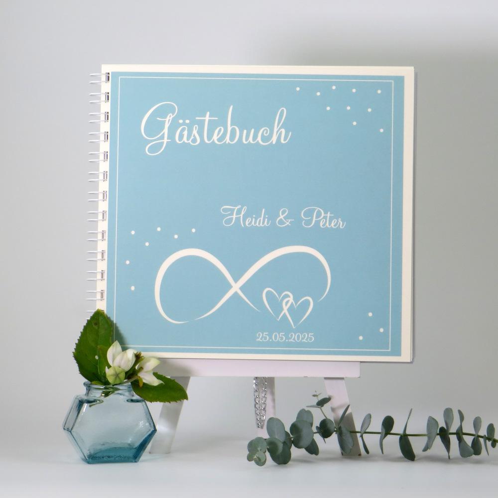 """Gästebuch """"Unendlich"""" türkis & creme"""