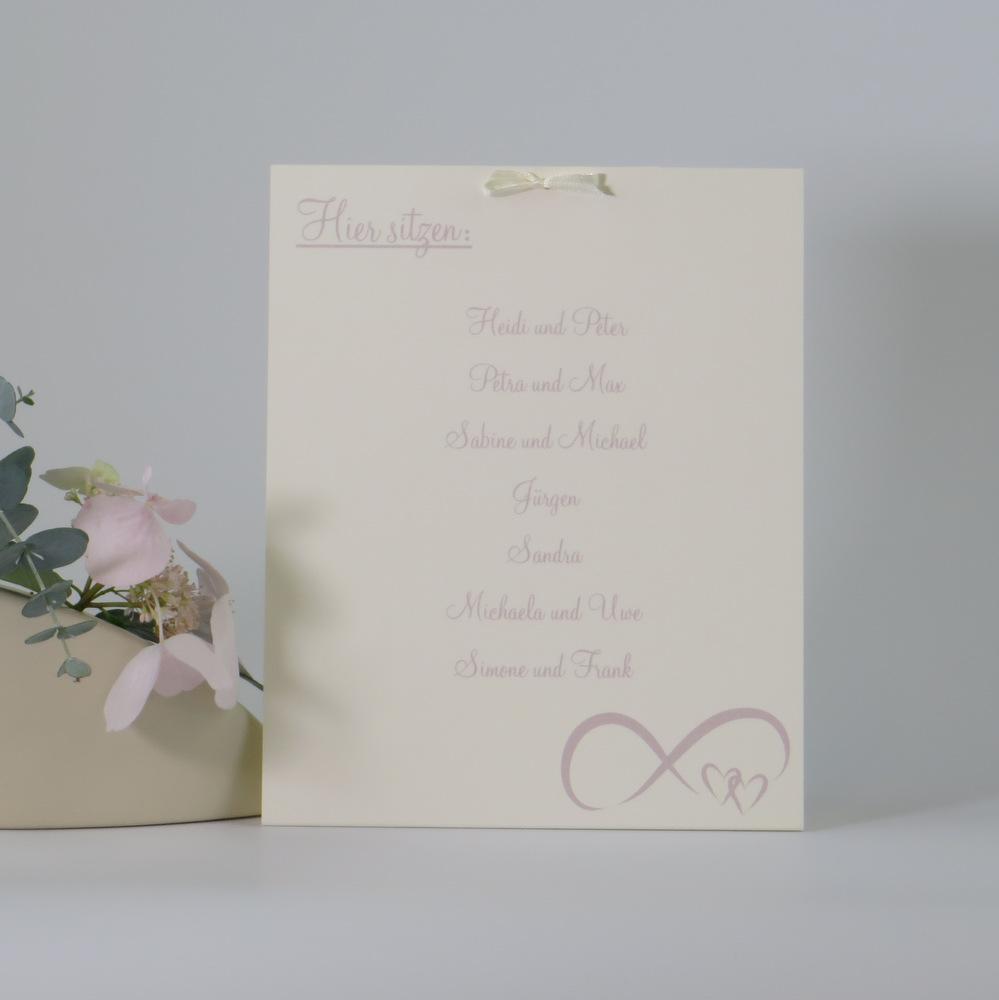"""Gruppentischkarte """"Unendlich"""" rosa & creme"""