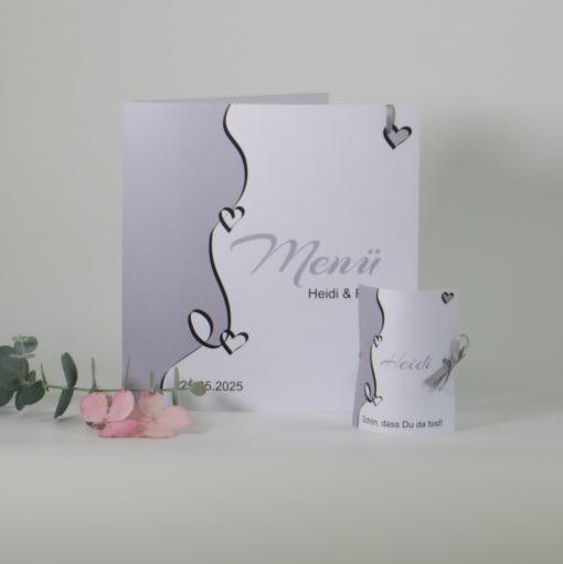 """Menükarte und Tischkarte """"Designline"""" in grau"""