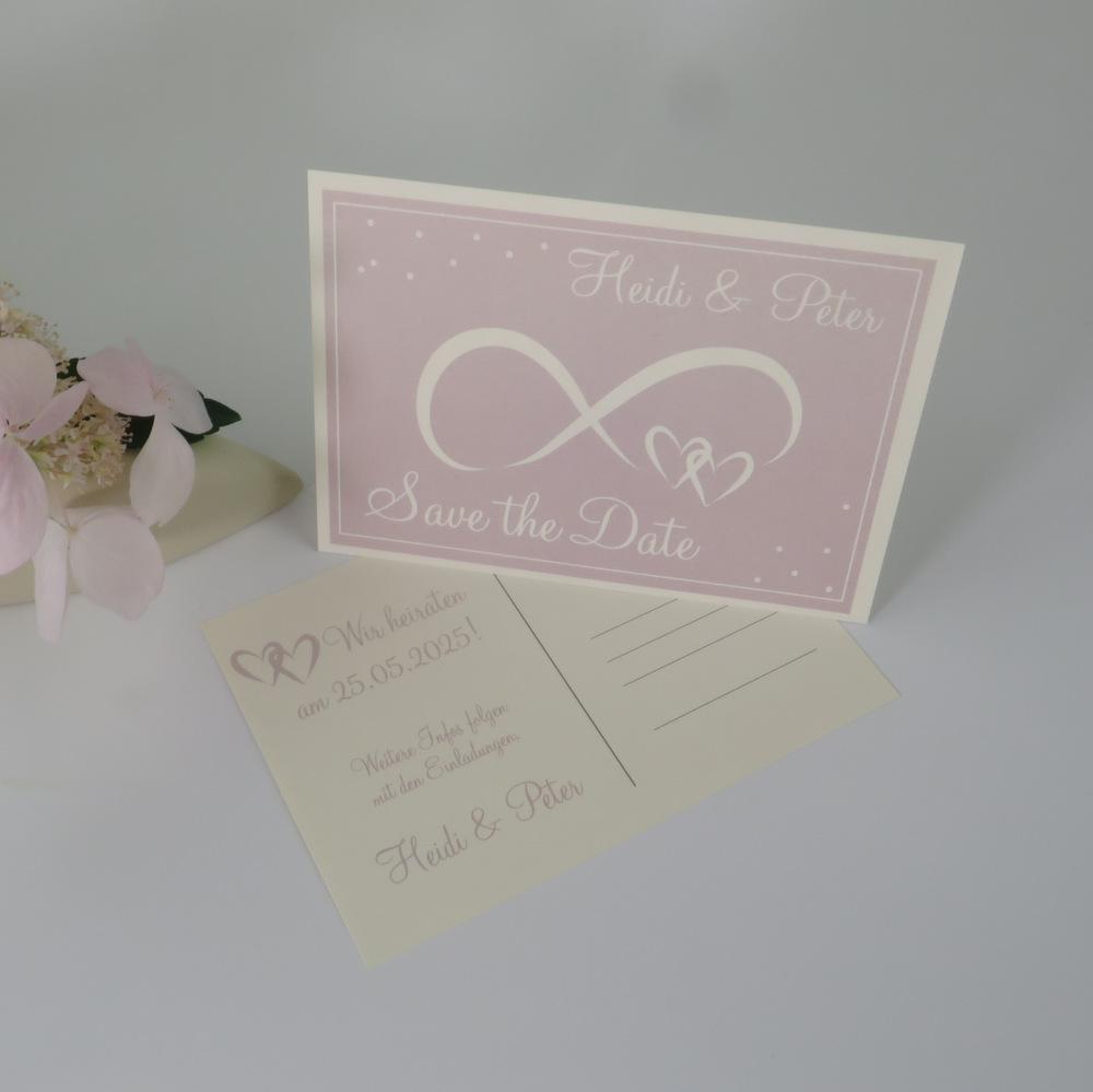 "Save the Date Karte ""Unendlich"" rosa & creme"