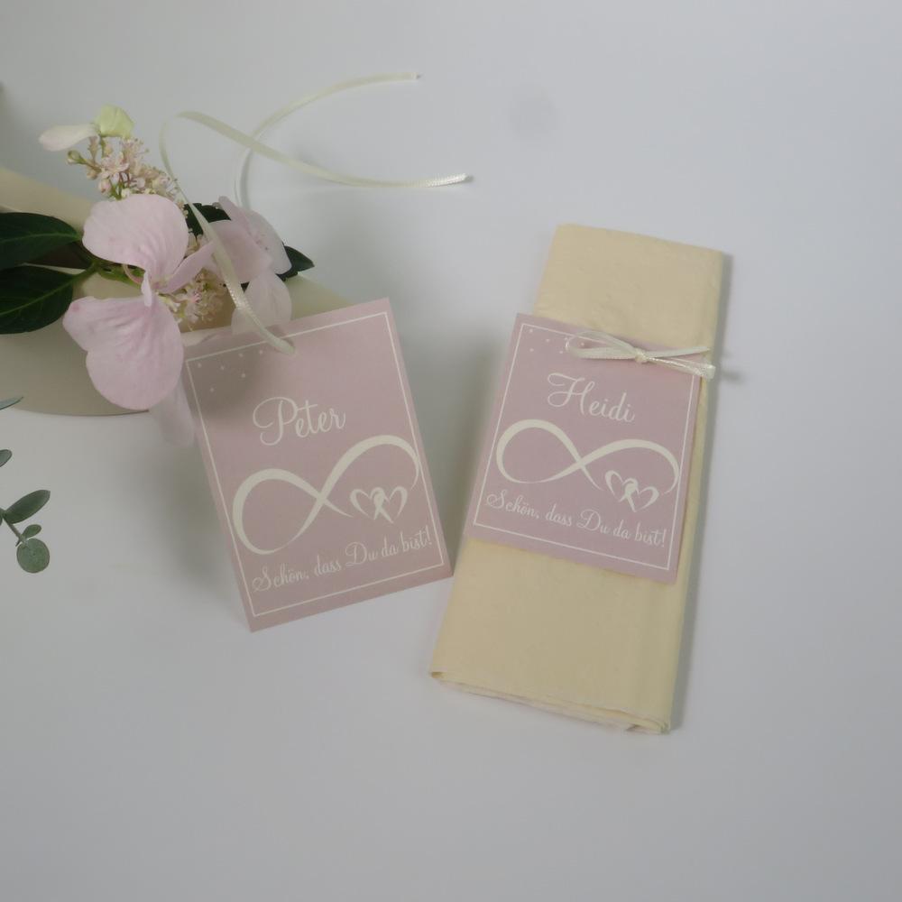 """Tischkarte """"Unendlich"""" rosa & creme"""