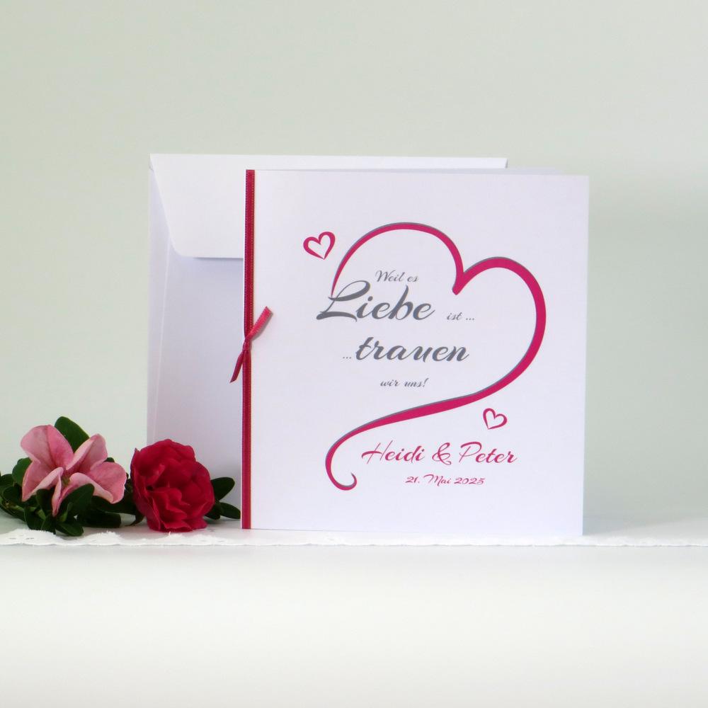 """Hochzeitseinladung """"In Love"""" pink"""