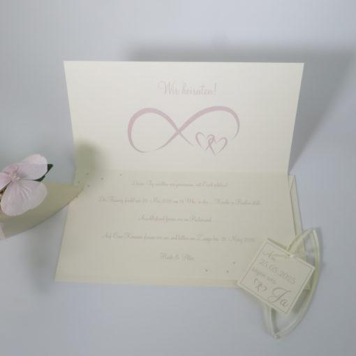 """Hochzeitseinladung """"Unendlich"""" rosa & creme mit Text"""