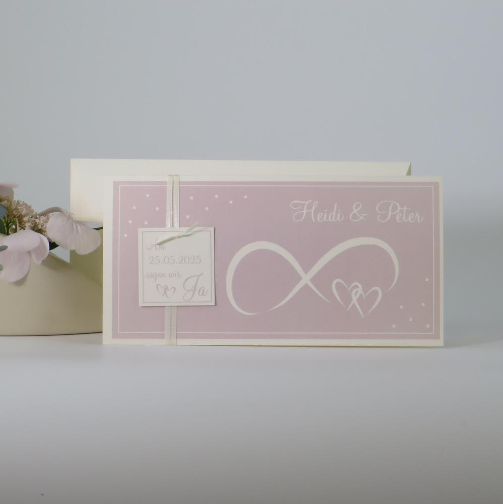"""Hochzeitseinladung """"Unendlich"""" rosa & creme"""
