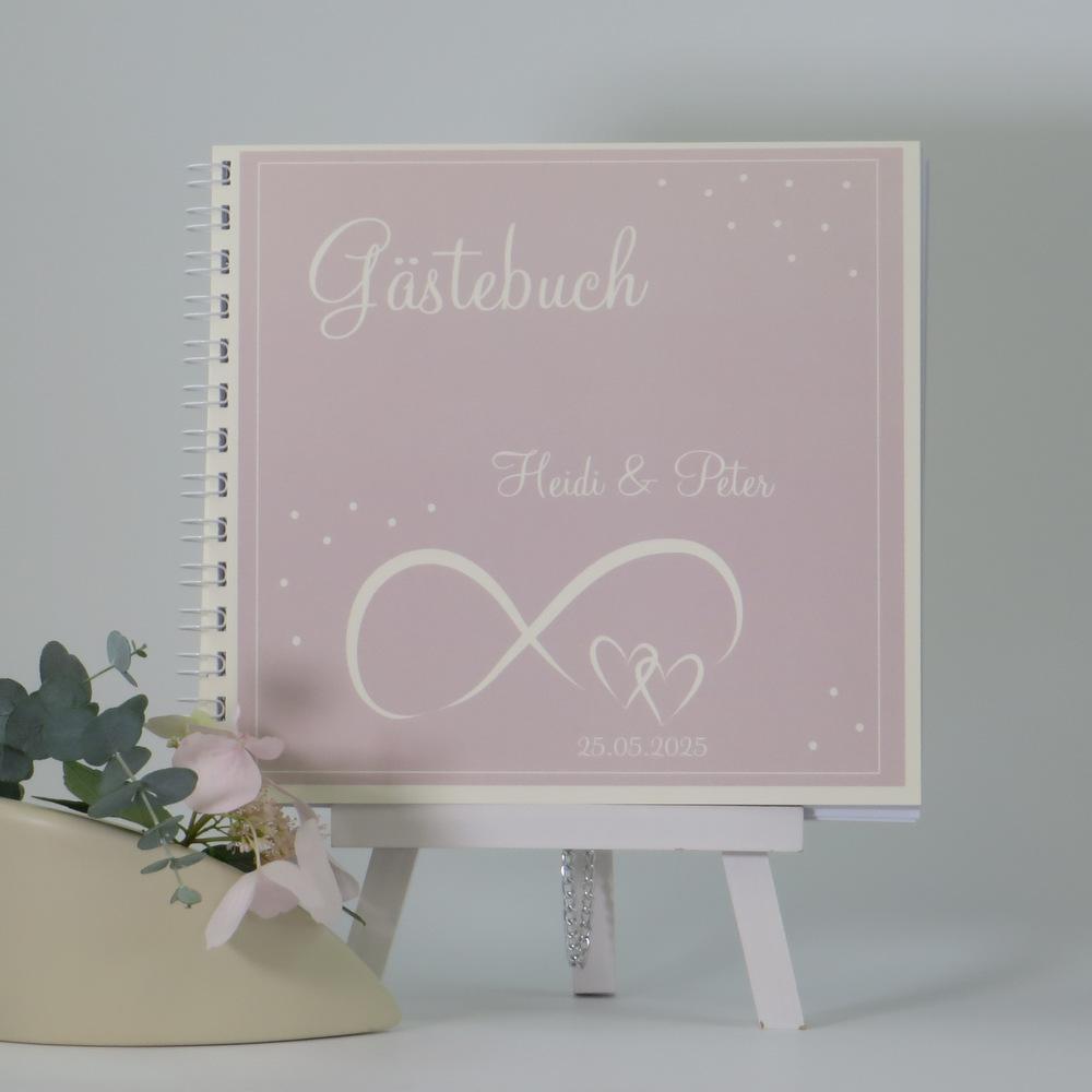 """Gästebuch """"Unendlich"""" rosa & creme"""
