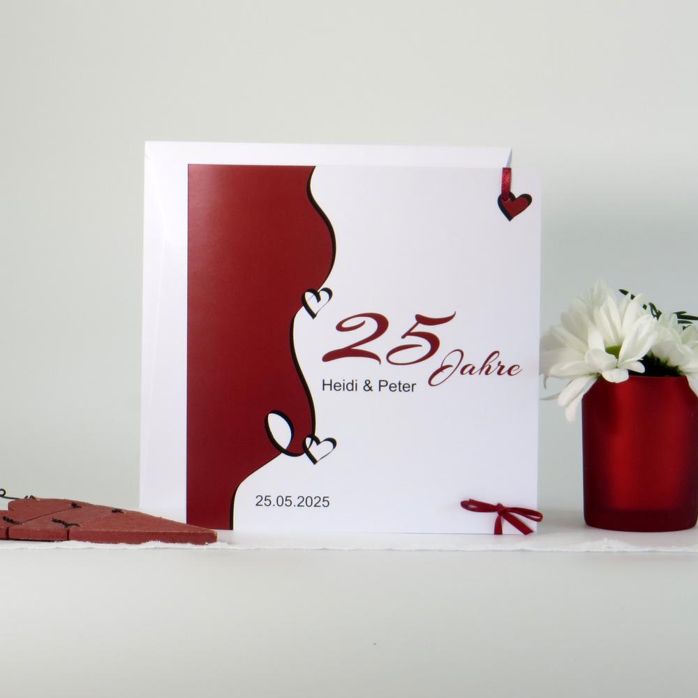 Einladung zur Silberhochzeit Designline in rot