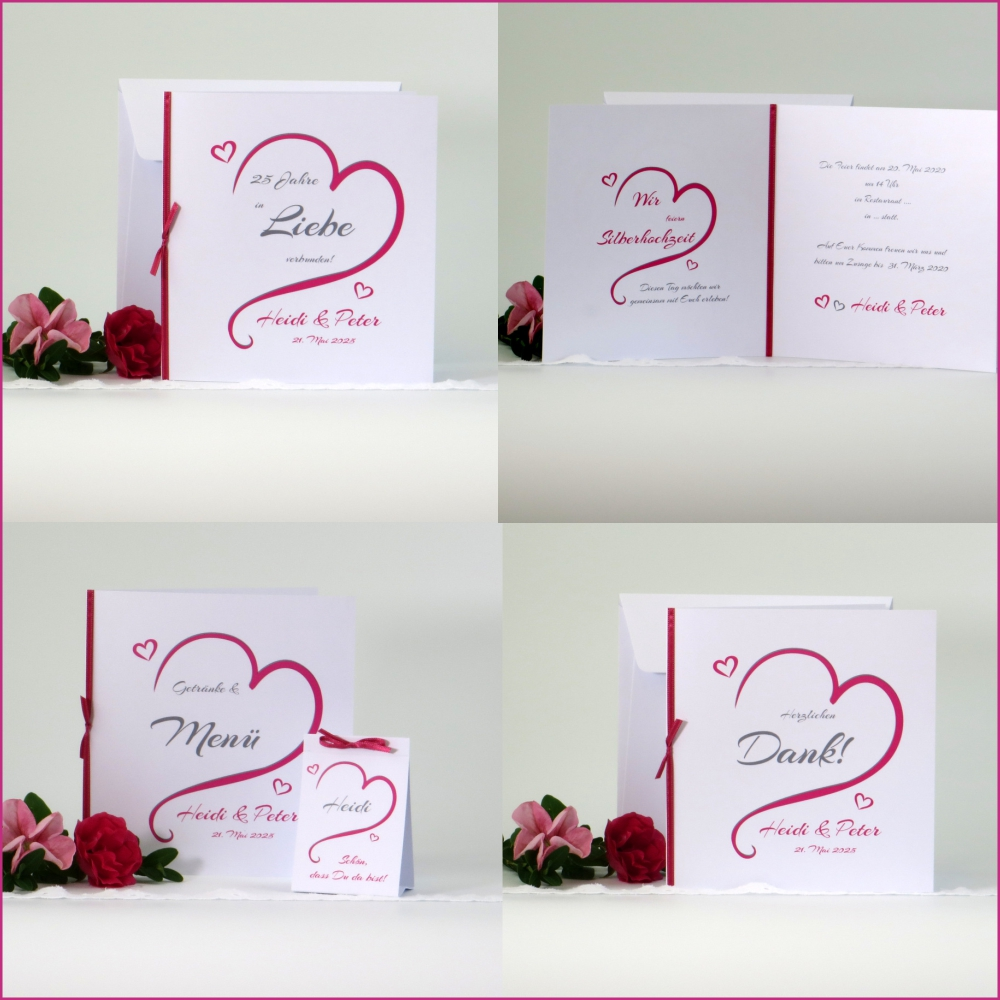 In Love pink Silberhochzeit