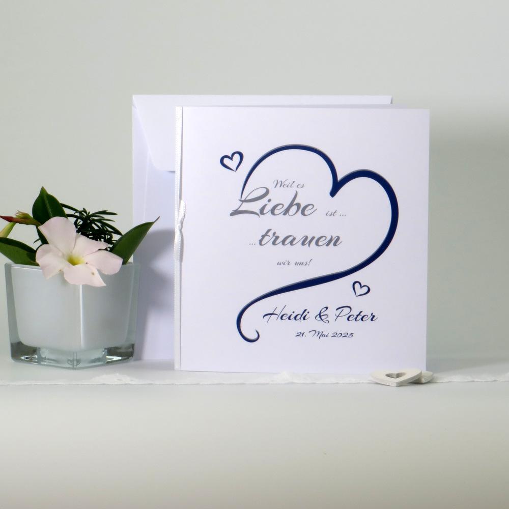 """Hochzeitseinladung """"In Love"""" in blau"""