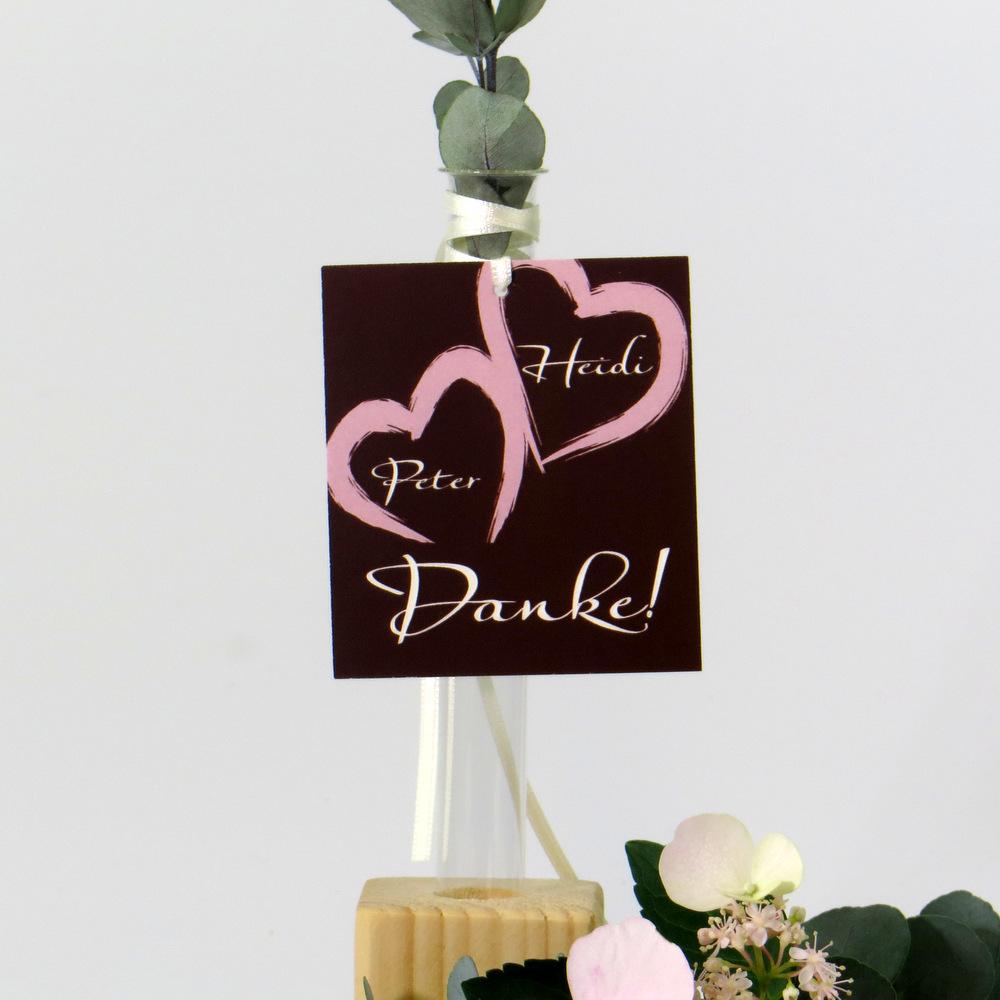 """Dankanhänger """"Unser Traum"""" rosa & braun"""